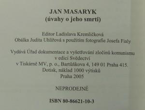 antikvární kniha Jan Masaryk : (úvahy o jeho smrti), 2005
