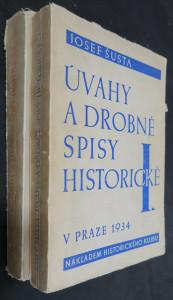 náhled knihy - Úvahy a drobné spisy historické I. a II. díl (věnování autora)