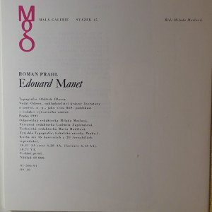 antikvární kniha Edouard Manet (edice Malá galerie, sv. 45), 1991