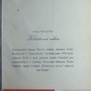 antikvární kniha Klášterní ulice : [Staropražské básně], 1945