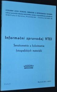 náhled knihy - Informační zpravodaj VTEI: Senziometrie a kolorimetrie fotografických materiálů, číslo 4, ročník XII., rok 1977