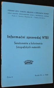 náhled knihy - Informační zpravodaj VTEI: Senziometrie a kolorimetrie fotografických materiálů, číslo 4, ročník XIII., rok 1968