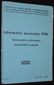 náhled knihy - Informační zpravodaj VTEI: Senziometrie a kolorimetrie fotografických materiálů, číslo 4, ročník XV., rok 1980