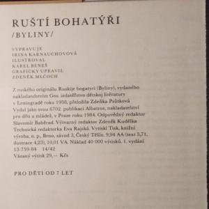 antikvární kniha Ruští bohatýři, 1984