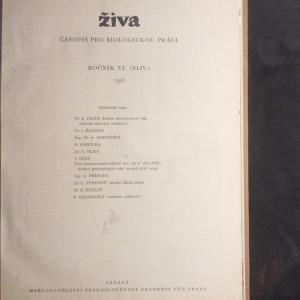 antikvární kniha Živa, Časopis pro biologickou práci, ročník VI., 1958