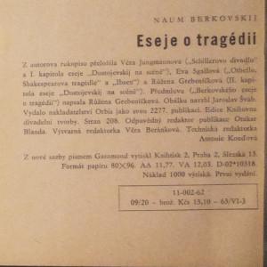 antikvární kniha Eseje o tragédii, 1962
