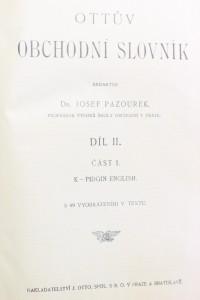 antikvární kniha Ottův obchodní slovník; Díl II., část 1., K-P, neuveden