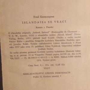 antikvární kniha Islandaisa se vrací, 1957
