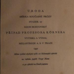 antikvární kniha Případ profesora Kornera, 1932