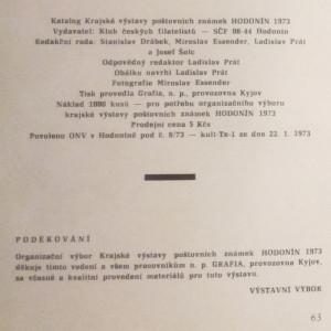antikvární kniha Katalog krajské výstavy poštovních známek Hodonín 1973, 1973