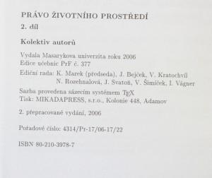 antikvární kniha Právo životního prostředí 2. díl, 2006