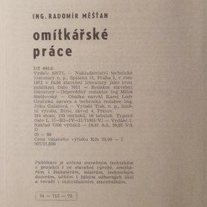 antikvární kniha Omítkářské práce, 1972