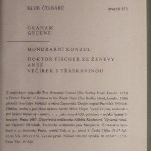 antikvární kniha Honorární konzul. Doktor Fischer ze Ženevy aneb večírek s třaskavinou., 1987