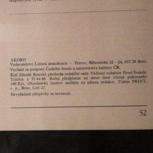 antikvární kniha Akord : Revue pro literaturu, umění a život, ročník XCII, číslo 6, 1991