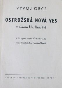 antikvární kniha Vývoj obce Ostrožská Nová Ves v okrese Uherské Hradiště, 1968