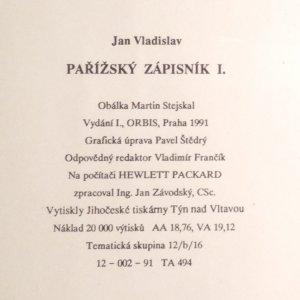 antikvární kniha Pařížský zápisník, Díl I., 1991