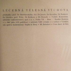 antikvární kniha Léčebná tělesná výchova (přednášky), 1947