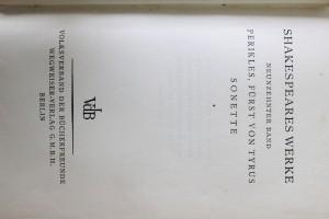 antikvární kniha Shakespeares Werke Neunzehnter Band Perikles, Fürst von Tyrus Sonette, neuveden