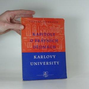 náhled knihy - Kapitoly o právních dějinách Karlovy university