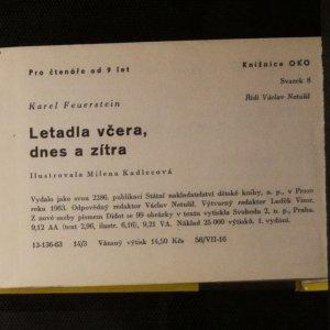 antikvární kniha Letadla včera, dnes a zítra, 1963