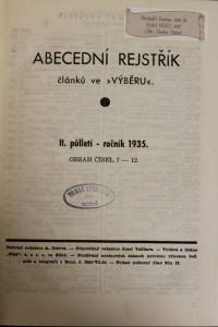 antikvární kniha Abecední rejstřík (1. - 2.), 1935