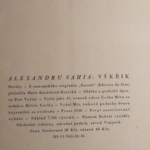antikvární kniha Výkřik, 1950