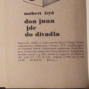 antikvární kniha Don Juan jde do divadla, 1976