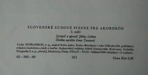 antikvární kniha Slovenské ľudové piesne pre akordeón, 1968