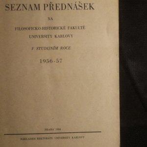 antikvární kniha Seznam přednášek na Filosoficko-historické fakultě v studijním roce 1956-57, 1956