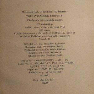antikvární kniha Potravinářské tabulky, 1952