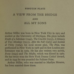 antikvární kniha A View from the Bridge. All My Sons., neuveden