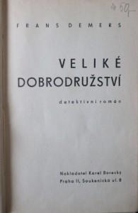antikvární kniha Veliké dobrodružství : detektivní román, 1941