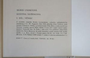 antikvární kniha Kristina Vavřincova I.- III. díl, 1977