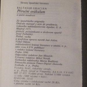 antikvární kniha Příruční orákulum a umění moudrosti, 1990