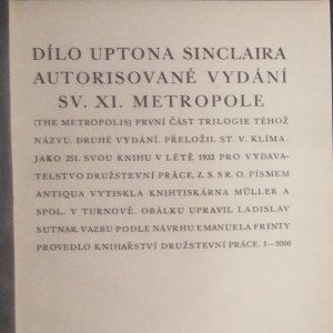 antikvární kniha Metropole, 1932