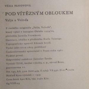 antikvární kniha Pod vítězným obloukem, 1961