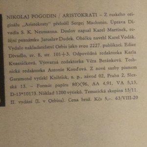 antikvární kniha Aristokrati, 1961