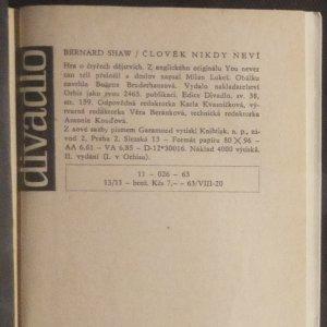 antikvární kniha Člověk nikdy neví : Hra o 4 dějstvích, 1963