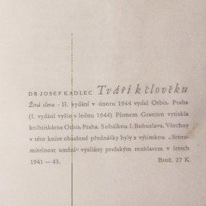 antikvární kniha Tváří k člověku, 1944