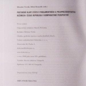 antikvární kniha Postavení hlavy státu v parlamentních a poloprezidentských režimech. Česká republika v komparativní perspektivě, 2008