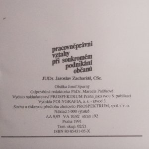 antikvární kniha Pracovněprávní vztahy při soukromém podnikání občanů, 1991