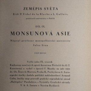 antikvární kniha Zeměpis světa. Díl devátý, Monsunová Asie. Část druhá, Přední a Zadní Indie - Indické souostroví, 1931