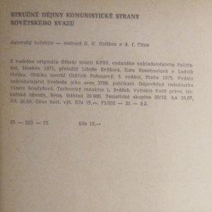 antikvární kniha Stručné dějiny Komunistické strany Sovětského svazu, 1975