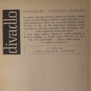 antikvární kniha Oidipús vladař, 1963