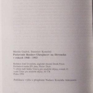 antikvární kniha Postavenie Rusínov-Ukrajincov na Slovensku 1948-1953, 1994
