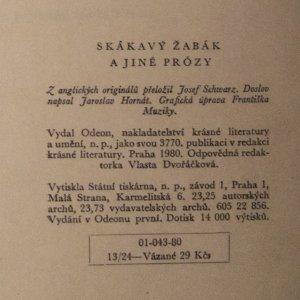 antikvární kniha Skákavý žabák a jiné prózy, 1980