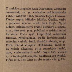 antikvární kniha Anna Kareninová II, 1978