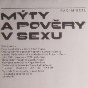 antikvární kniha Mýty a pověry v sexu, 1991