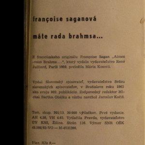 antikvární kniha Máte rada Brahmsa, 1963