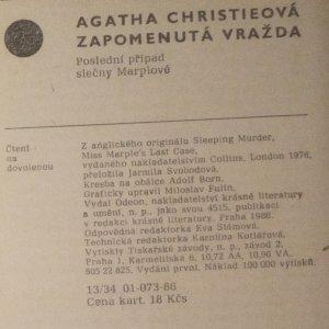 antikvární kniha Zapomenutá vražda : poslední případ slečny Marplové, 1986